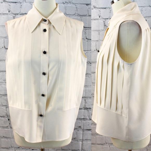 7c8b59e2d99d25 CHANEL Tops   Offwhite Button Down Silk Shirt   Poshmark